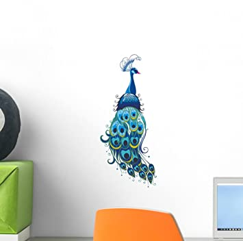 Peacock Wall Decal By Wallmonkeys Peel And Stick Graphic (12 In H X 5 In