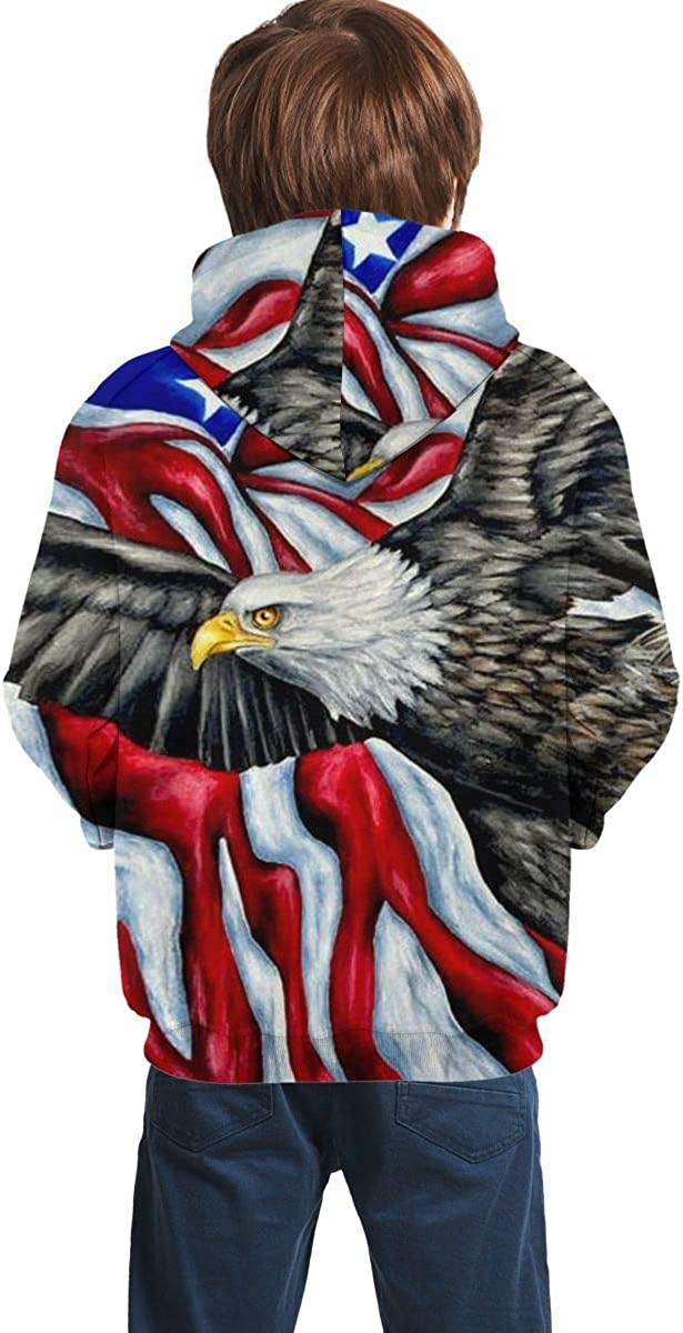 Teen Pullover Hoodies with Pocket American Flag Eagle Soft Fleece Hooded Sweatshirt for Youth Teens Kids Boys Girls