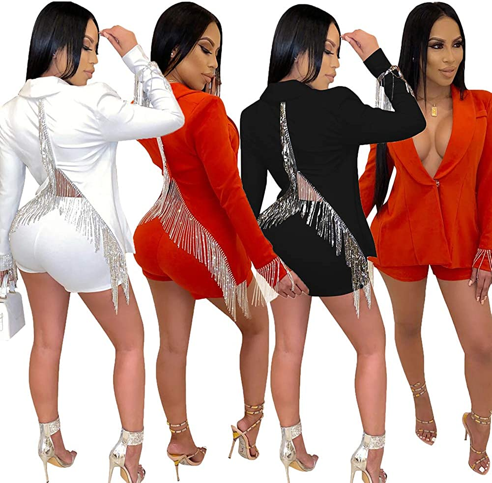 Two Piece Outfits for Women Bodycon Shorts Set and Long Sleeve Blazer Jacket Business Suit Set Slim Fit