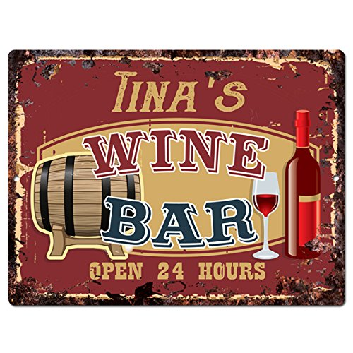 TINA'S WINE BAR Tin Chic Sign Rustic Vintage style Retro Kitchen Bar Pub Coffee Shop Decor 9