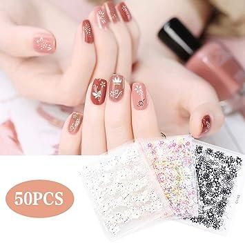 Stickers Ongle, METALBAY 50 Feuilles Autocollants Ongles Pour Nail Art 3D,  Décoration DIY Pour
