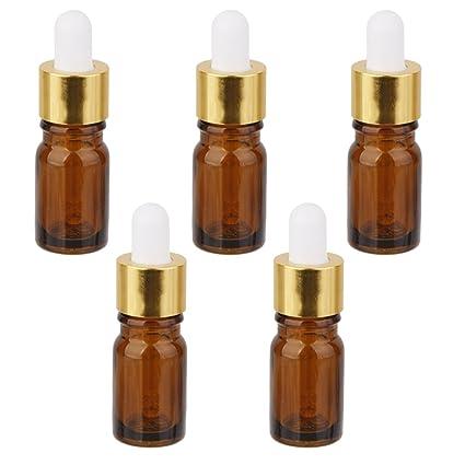 5pcs Botella de Aceite Esencial Frasco Cuentagotas Cristal Color Ámbar 5ml