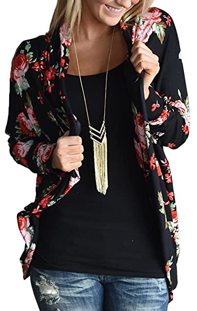 Amazon.com: EachWell Mujeres Floral Boyfrie Cardigan Boho ...