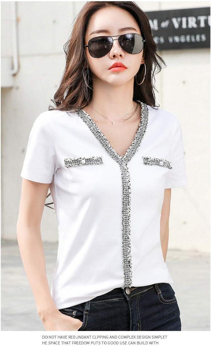BOLIXIN - Maglietta a Maniche Corte, con Scollo a V, Colore Nero, Maglietta da Patchwork con Perline Bianche da Donna, 2020 bianco