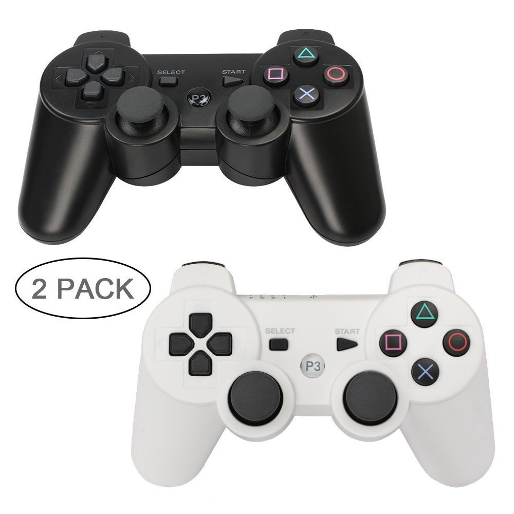 PS3 Controller 2 Pack Wireless Bluetooth 6-Axis Gamepad Controllers for PlayStation 3 Dualshock 3 (Black+White)