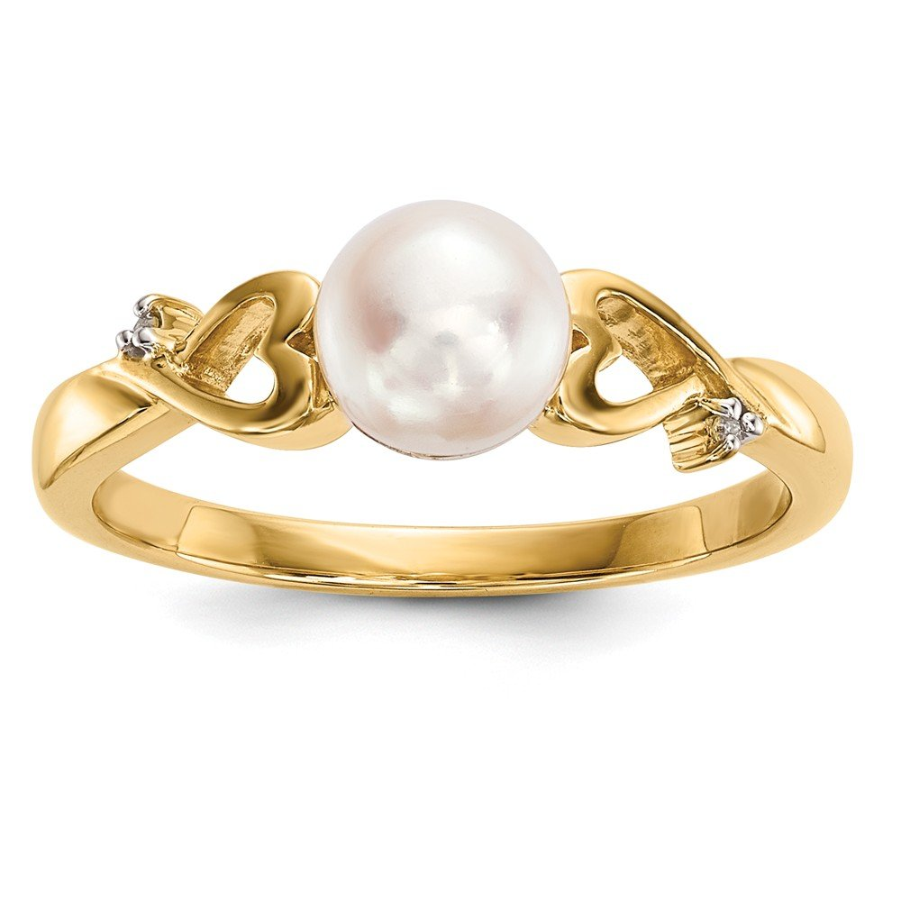 JewelryWeb 14k Gold With Diamond and Freshwater Cultured Pearl Polished Ring
