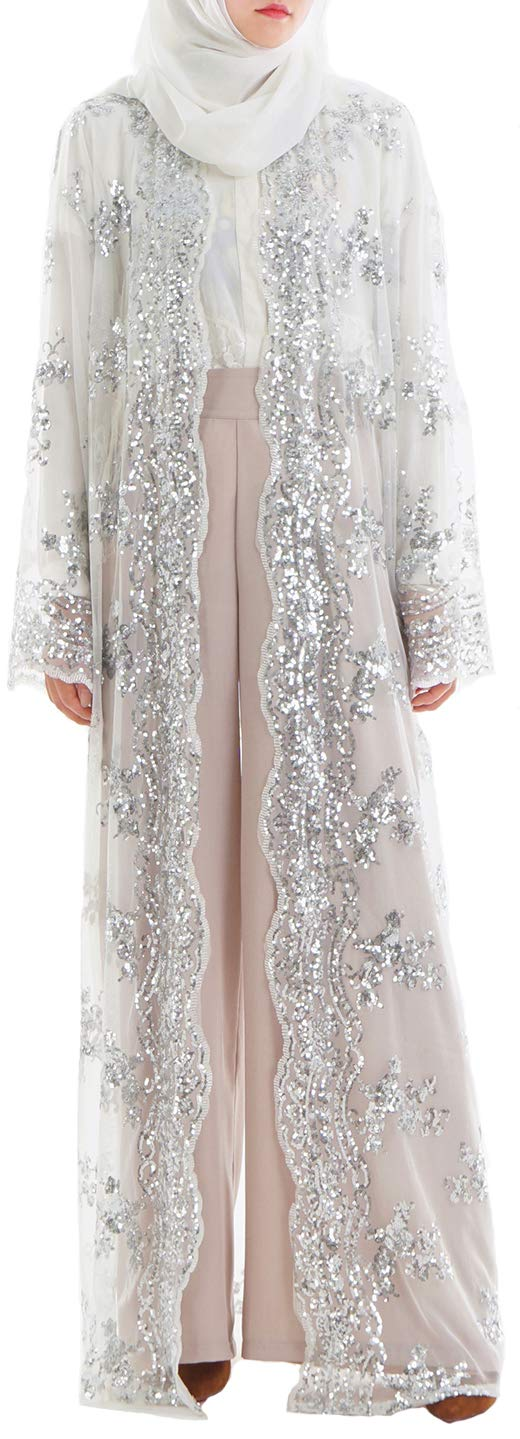 YI HENG MEI Women's Muslim Islamic Sequins Embroidered Sheer Lace Maxi Open Abaya Cardigan,White,Tag S Length 54 inch
