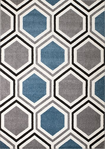 TAIN Rio VY-GKN4-W1U9 Summit 313 Grey Blue White Area Rug Modern Geometric Many Sizes Available, DOOR MAT 22 inch x 35 inch (amazon sale)