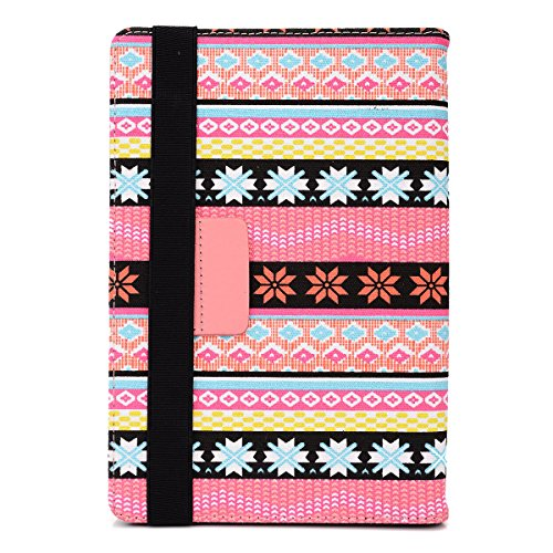 """Slim Pink Nordic Printed bookstyle cover case with self supporting stand Universal design fits MATSUNICHI MARQUIS PAD MP977 9.7"""""""
