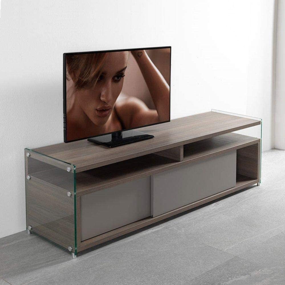 PEZZANI - Mueble para TV TALAC con 2 Puertas correderas, Color Nogal: Amazon.es: Hogar