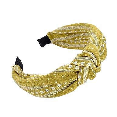 Damen Breites Haarband Schweißband Bandana Yoga Haarreif Knoten Stirnband