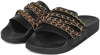 Wild Diva Women Slip on Soft Fur Fuzzy Sandals Slides Slippers Flip Flops Matty-01