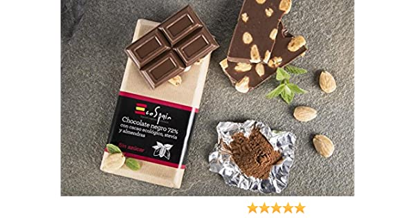 Chocolate negro 72% con cacao ecológico, almendras y stevia. Sin azúcar. Apto para diabéticos. 150 Gr. Sin gluten. Sin conservantes ni colorantes.