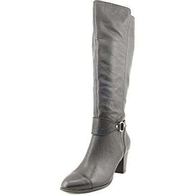 Womens Cagney Leather Round Toe Mid-Calf Riding Boots