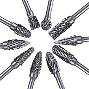 Ventercess Rotary Burr Set Carving Tool Tungsten Carbide Steel Solid Twist Drill Bit Grinding Head for Dremel Rotary Tools Woodworking Engraving Drilling(10pcs)
