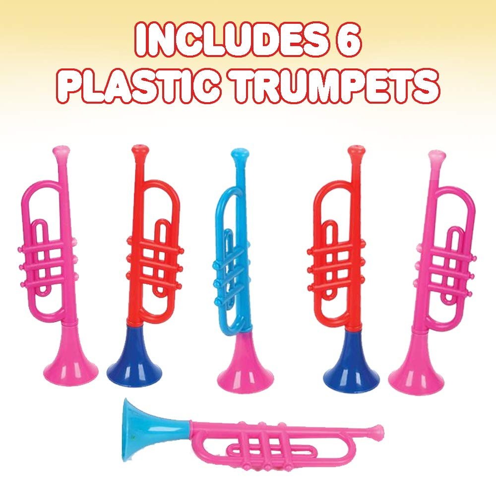 Cool Birthday Party Favors for Boys Fun Musical Instruments Noise Makers for Parties and Events Set of 6 Girls Music Toys for Kids and Toddlers Adults ArtCreativity 13 Inch Plastic Trumpets