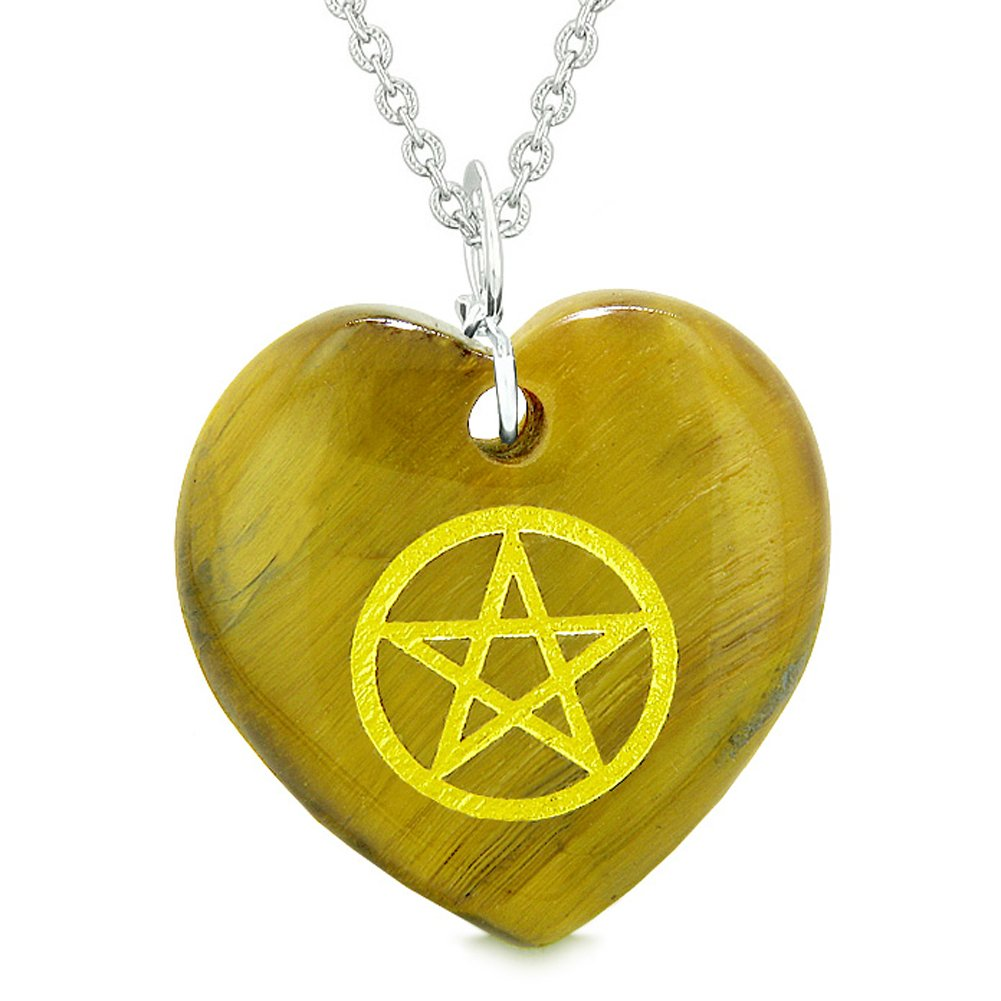 Amulet Magical Pentacle Energy Protection Powers Puffy Heart Tiger Eye Pendant 22 inch Necklace