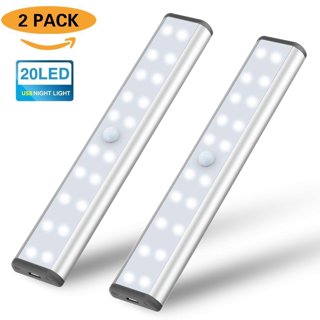 20 LED Schrankleuchte , SIEGES Sensor Nachtlicht mit Bewegungsmelder für Küche, Flur oder Durchgänge, Treppenhäuser und Keller (2 Stück) Flur oder Durchgänge