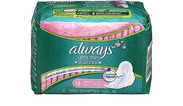 Amazon.com: Always Always Ultra Thin Slender w/Flexi-Wings - 18: 10 units.: Health & Personal Care
