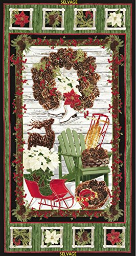 Wreath Fabric Panel (Country Christmas 24 Inch Metallic Panel Plus Quilt Pattern Kit)