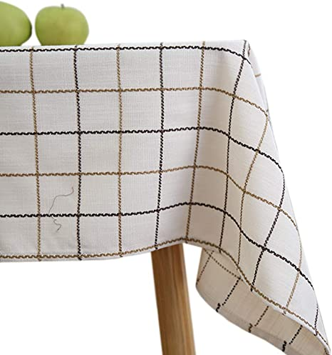 Small Square Tablecloth 53inch Cream White Fabric Cotton Linen Rectangular Lattice Garden Tea Table Square Table Cloth Towel For Home Kitchen Dining Entertaining Tabletop Serveware Kitchen Dining