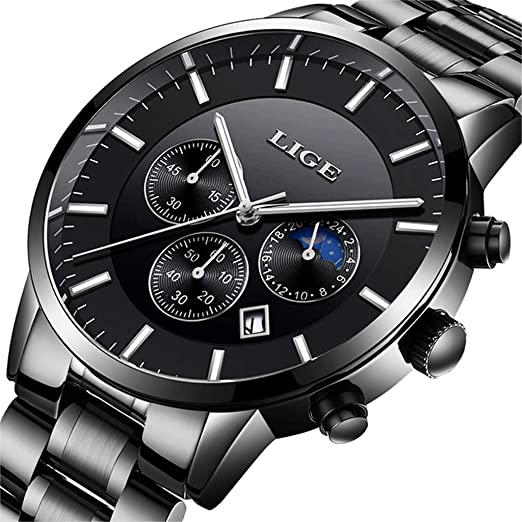 LIGE Mens Relojes Moda Impermeable Sprots Reloj de Cuarzo Analógico Hombres Negro Acero Inoxidable Cronógrafo Calendario Reloj de Pulsera: Amazon.es: ...