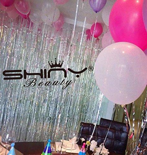 ShinyBeauty Foil Fringe Silver-9FTX8FT Metalic Fringe Curtain Tinsel Photo Backdrop by ShinyBeauty (Image #1)