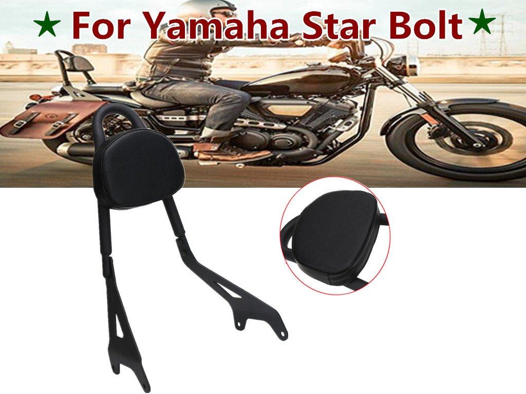 E-Most Detachable Driver Rider Sissy Bar Rear Passenger Pad W/ Leather Backrest Pad for Yamaha Star Bolt XV950 XVS950 2014-2017