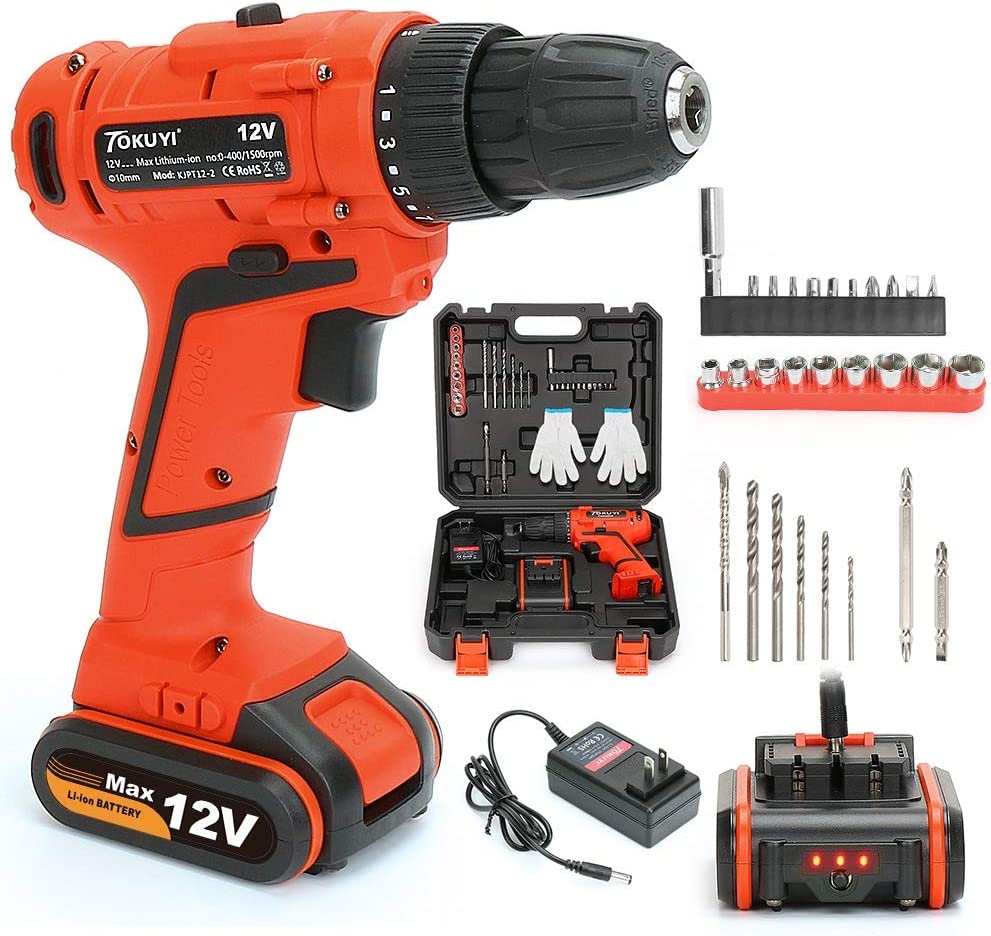 TOKUYI 12V 1.5Ah Lithium-ion Cordless Drill Driver Screwdriver,3 8-inch Keyless Chuck, 17 1 Torque Setting with Led Light,and 1 Hour Fast Charger,29Pcs Accessories