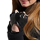 Gours Women's Genuine Black Leather Fingerless Gloves Motorcycle Style Driving (Large)