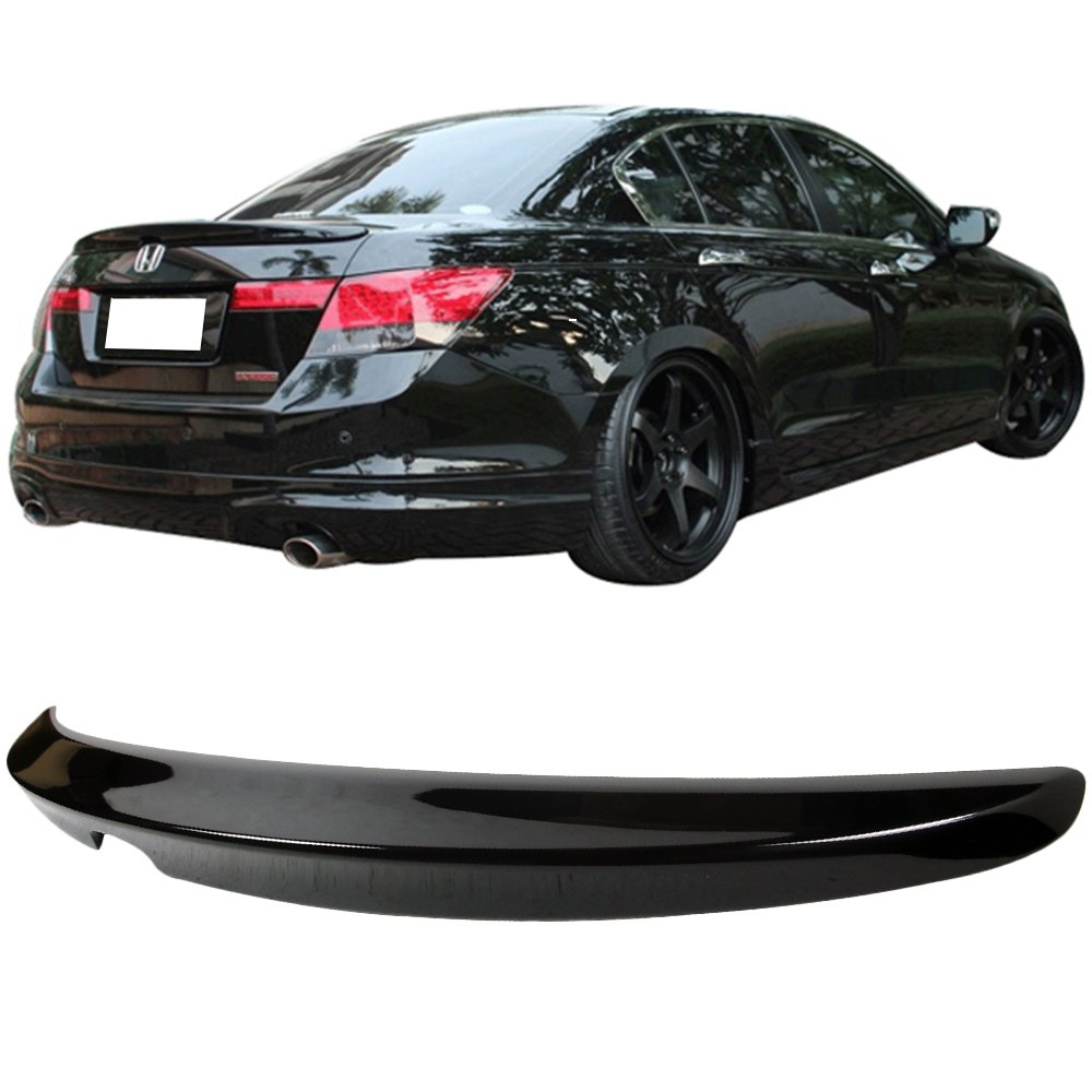 2009 2010 2011 Trunk Spoiler Fits 2008-2012 Honda Accord Factory Style Unpainted Raw Material Black ABS Rear Tail Lip Deck Boot Wing by IKON MOTORSPORTS