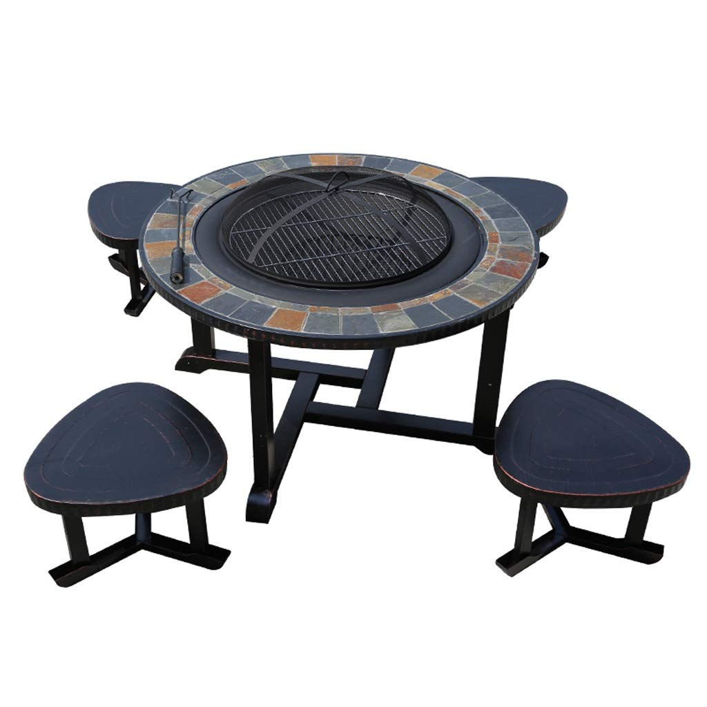 MEI XU Barbecue Grill BBQ Grill - Outdoor BBQ Table and Chair Household Charcoal Grill Grill Garden Garden Open-air Iron Leisure Outdoor Cast Aluminum Table and Chair