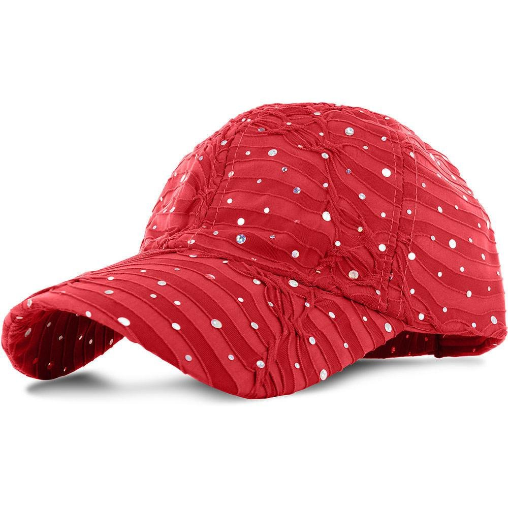 Red_100% Polyester Glitter Baseball Cap Golf Hat Rhinestone (US Seller)