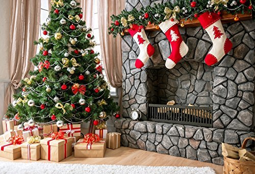 Kate Holiday Christmas Tree Photography Backdrops Gift Box Red Sock Brick Fireplace For Children Christmas Photo Background 10x10ft (Christmas Red Background)