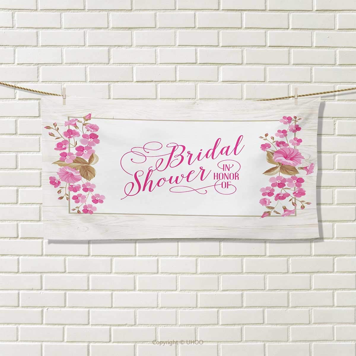 Chaneyhouse Bridal Shower,Hair Towel,Celebration Bride Party Card Inspired Floral Leaves Frame Image,Quick-Dry Towels,Lilac Hot Pink and Green Size: W 8'' x L 23.5''