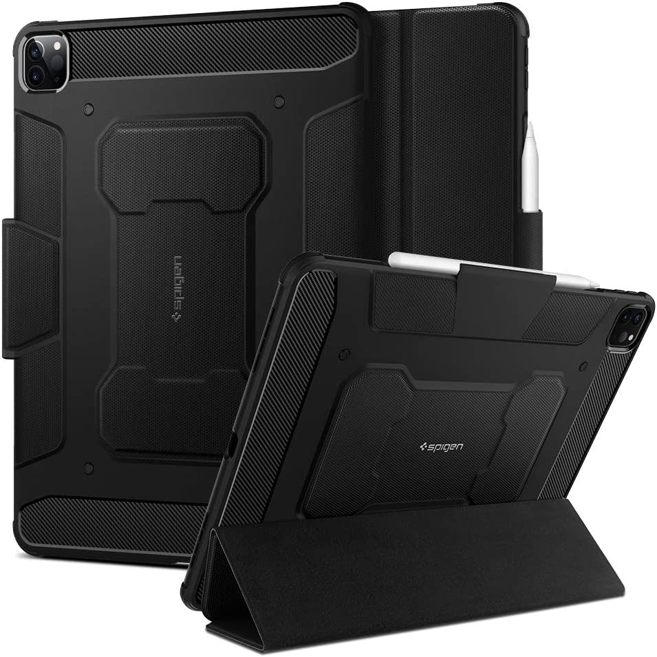 Spigen Rugged Armor Pro Designed for iPad Pro 12.9 Case 2020 & 2018 with Pencil Holder - Black