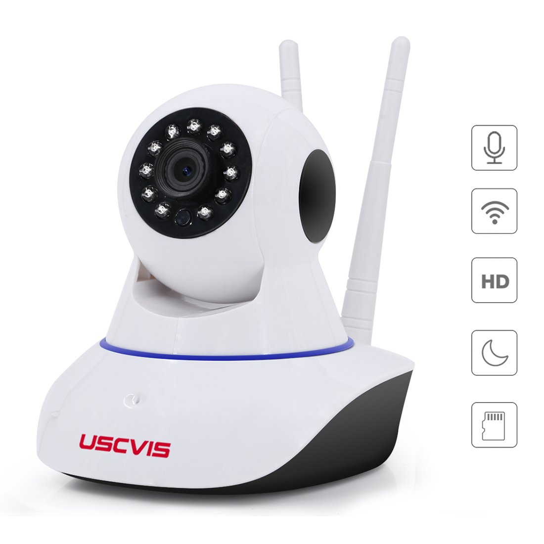 USCVIS Home Security Camera, 960p Wireless HD ip Camera with Two-way Audio, Night Vision, Motion Detection for Indoor Security, Pet Monitor