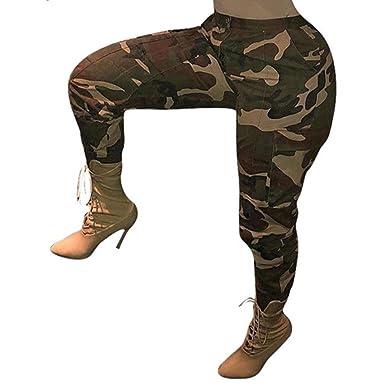 achat authentique offres exclusives chaussure OverDose Femme Pantalon Chino à Imprimé Camouflage, Grande Taille Casual  Slim Sport Jogging Taille Haute Cargo Hip Hop Trousers