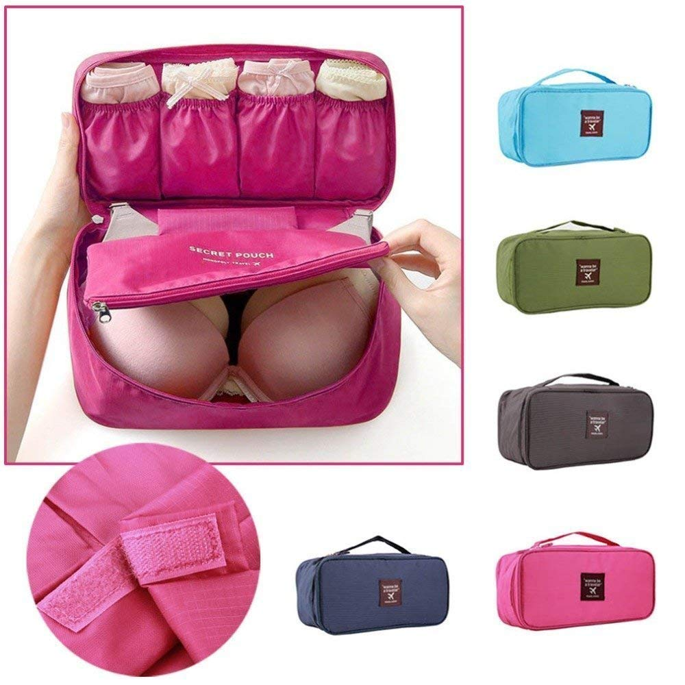 9f1d52f125a7 JEEJEX Multifunctional Bra Underwear Organizer Bag Slide Portable Cosmetic  Makeup Lingerie Toiletry Travel Bag with Handle (Colour May Vary)   Amazon.in  ...