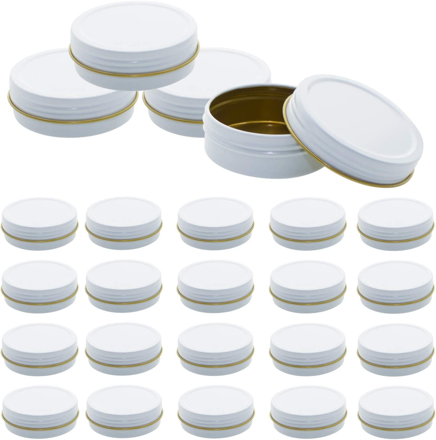 Mimi Pack 24 Pack Tins 4 oz Shallow Round Tins with Solid Screw Lids Empty Tin Containers Cosmetics Tins Party Favors Tins and Food Storage Containers (White)