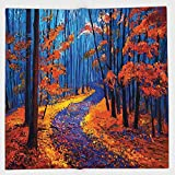 Cotton Microfiber Hand Towel,Country Decor,Dark and Deep in the Forest in Fall Autumn Season Silence Calm Magical Nature Art Paint,Orange Navy,for Kids, Teens, and Adults,One Side Printing