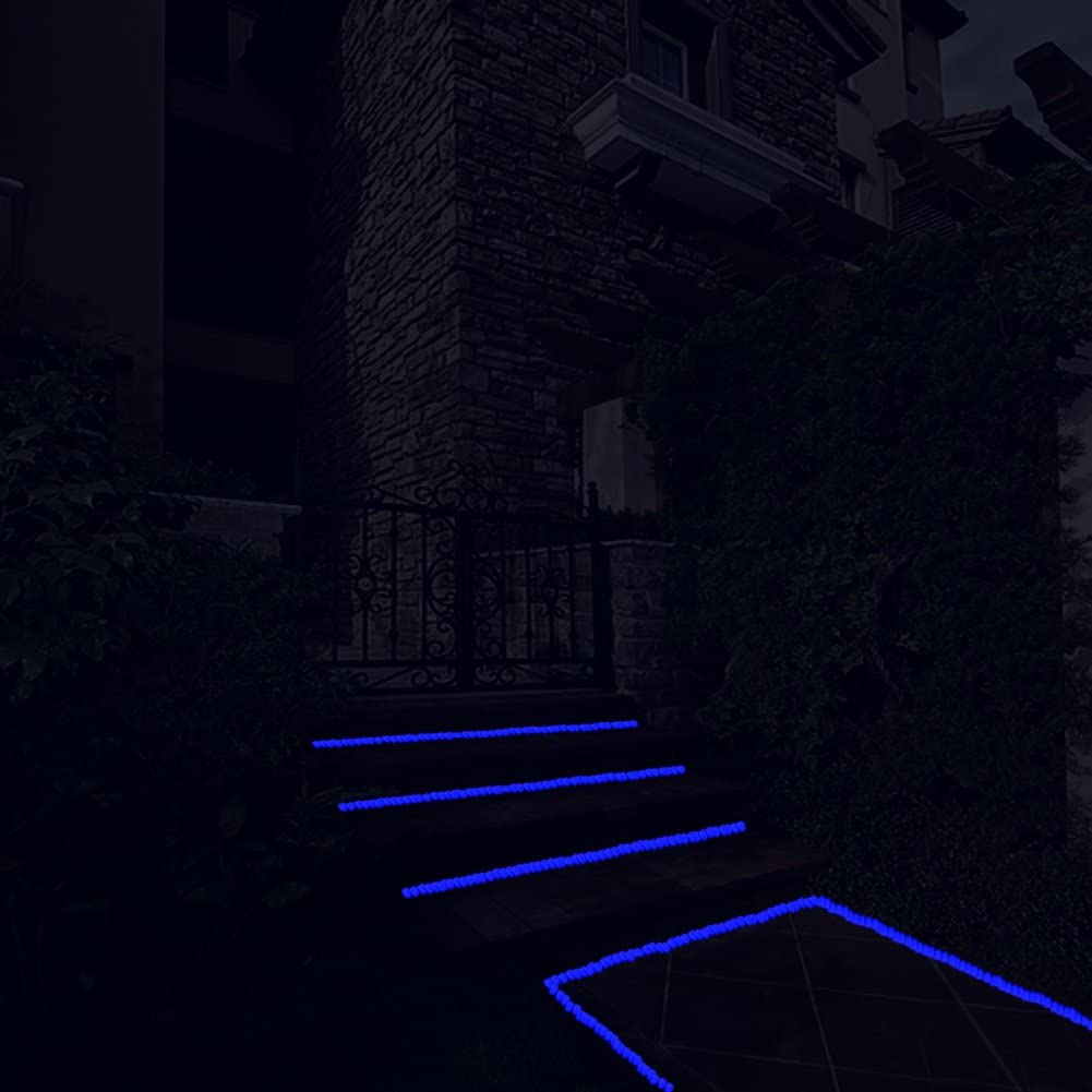 Driveway Walkway Glowing Rocks Fish Tank 300 pcs Glow in The Dark Pebbles for Outdoor Decor Aquarium Luminous Pebbles Powered by Light or Solar-Recharge Repeatedly Pathway Garden Lawn Yard