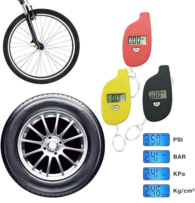 4 modalit/à per Auto//Moto//Bici Mini manometro per Pneumatici Giallo con Portachiavi Mein HERZ 35PSI Manometro Pressione Gomme Digitale Portatile