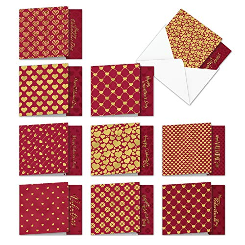 10 Boxed Red and Gold (Not Foil) All Over Valentines Day Cards - Beautiful Assortment of Heart Greeting Cards with Envelopes (Small 4 x 5.12) - Happy Valentines Stationery Note Cards MQ5666VDG-B1x10