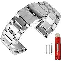 Solid double Locks stainless steel Watch Band strap di ricambio per bracciale in metallo, finitura spazzolata orologio da uomo e da donna 18mm 20mm 22mm 24mm, nero argento