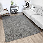 Ottomanson Soft Cozy Color Solid Shag Area Rug Contemporary Living and Bedroom Soft Shag Area Rug,Grey, 6'7  L X 9'3  W