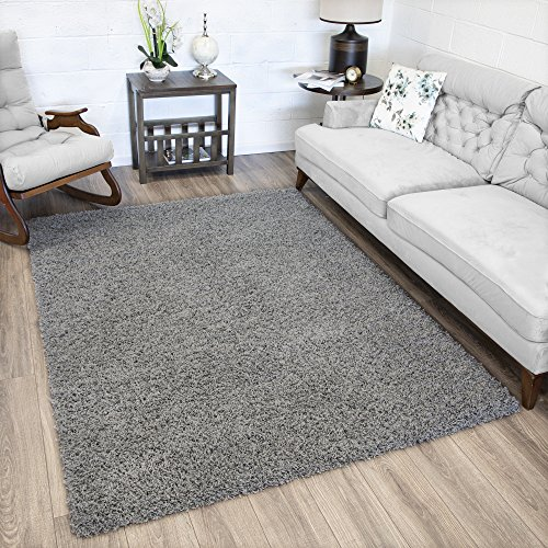 (Ottomanson Soft Cozy Color Solid Shag Area Rug Contemporary Living and Bedroom Soft Shag Area Rug, Grey, 5'3
