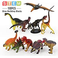Mini Tudou 10 PCS Dinosaur Toys Figure, Realistic Dinosaur Building Blocks to Create Dino World Including T Rex…