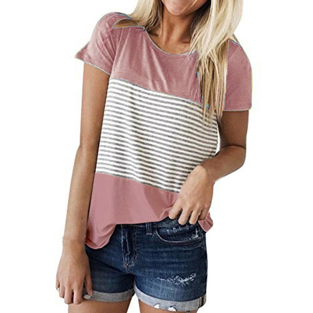 wodceeke Women Short Sleeve Round Neck Triple Color Block Stripe T-Shirt Casual Blouses(Pink,L)