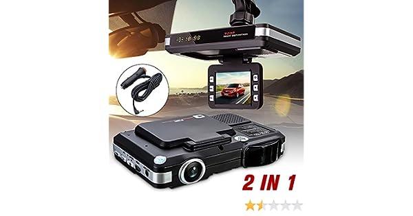 euzeo 2 en 1 multifunción 5 MP coche DVR grabadora + Radar Detector de velocidad Trafic alerta Inglés: Amazon.es: Electrónica